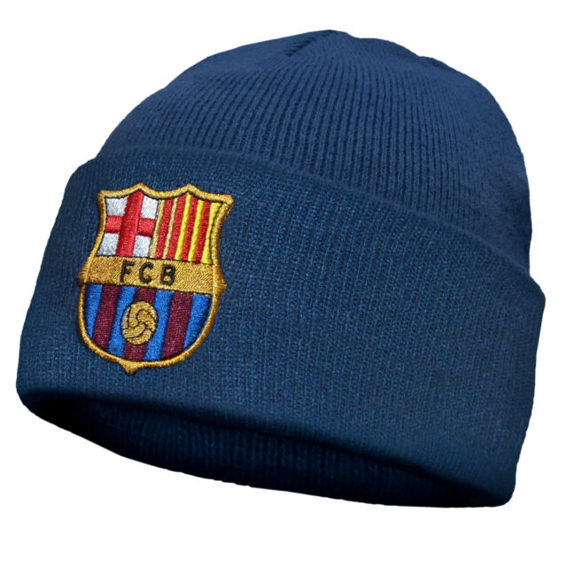ef15beb70fa FC Barcelona Official Football Gift Kids Knitted Bronx Beanie Hat Crest Navy  for sale online