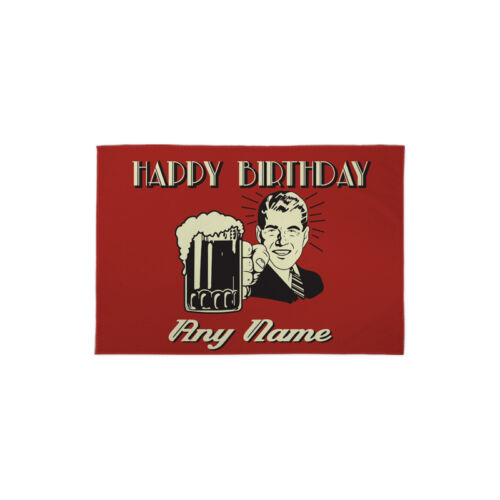 Personalised Retro Beer Banner Happy Birthday Flag Party Decoration 3 X 2 FT