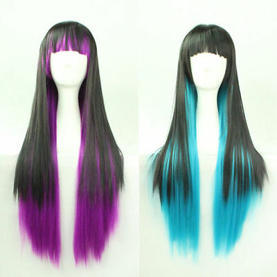 NEW Fashion Lolita Harajuku Style Mix Gradient Color Long Straight Wig