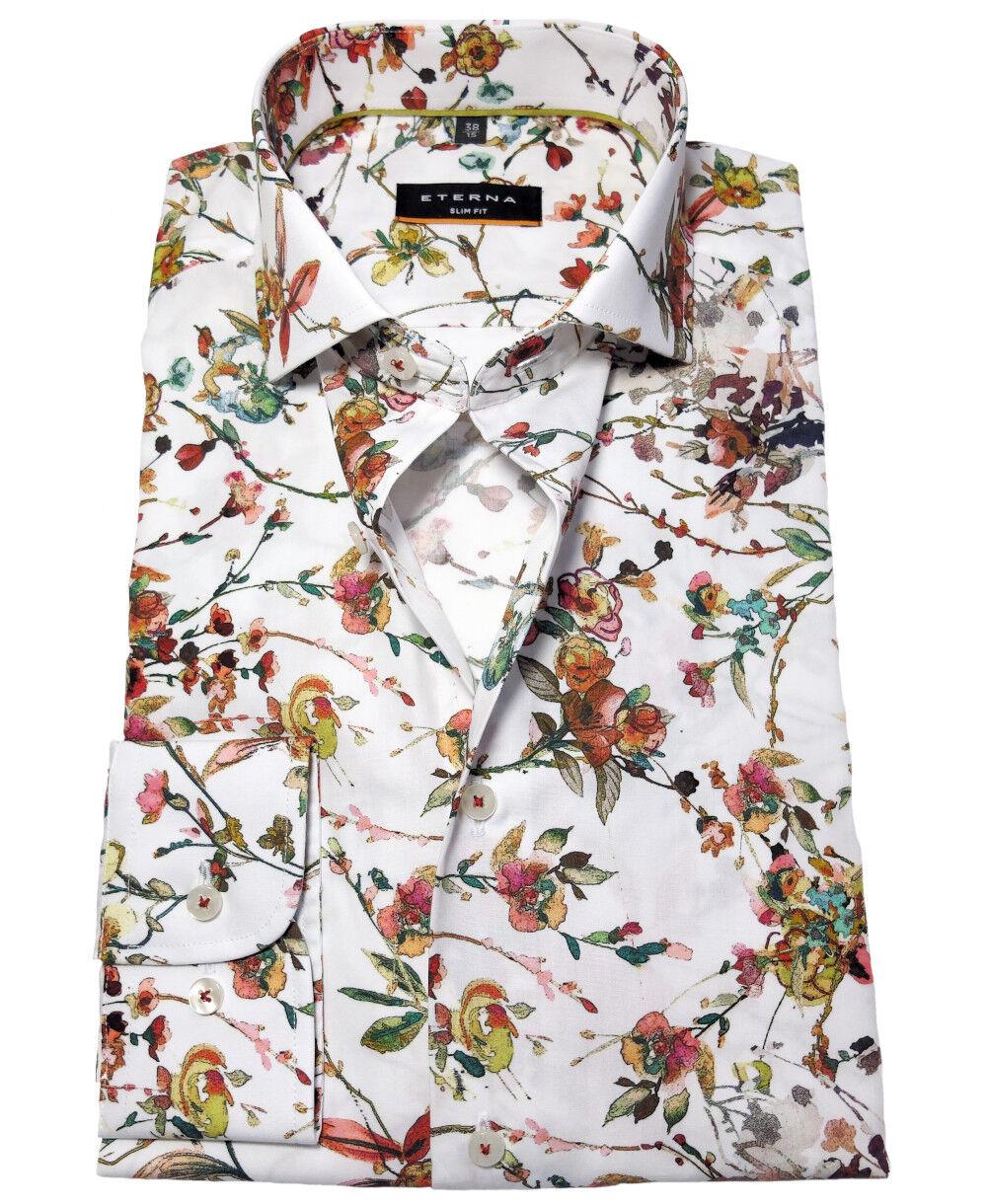 Langarmhemd eterna Slim Fit Floraldesign in weiss bunt Gr. 38 bis 44