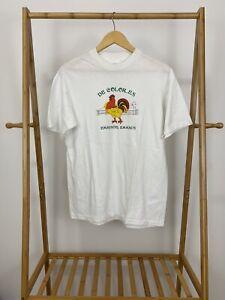 VTG-90s-Hanes-50-50-De-Colores-Emmanuel-Emmaus-Rooster-White-T-Shirt-Size-L-USA