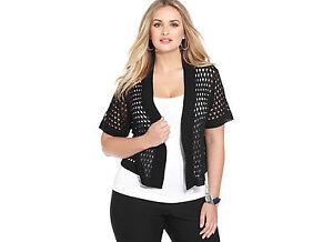 Black-Tunic-Shrug-Cardigan-Sweater-NEW-1X-18W-2X-3X-20W-22W-24W-NYCollection-M56