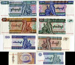 MYANMAR-BURMA-SET-8-PCS-50-PYAS-1-200-KYATS-ND-1994-2004-P-68-74-78-UNC