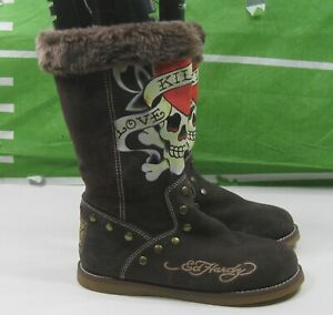 new-beige-Hot-Ed-hardy-Women-mid-calf-Suede-Sexy-Boots-Size-7