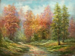 Autumn Fall Trees Path Country Landscape Original Ronny Lee 12x16