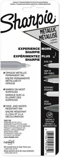 Sharpie Fine Permanent Metallic Marker GOLD SILVER BRONZE 3 Pack