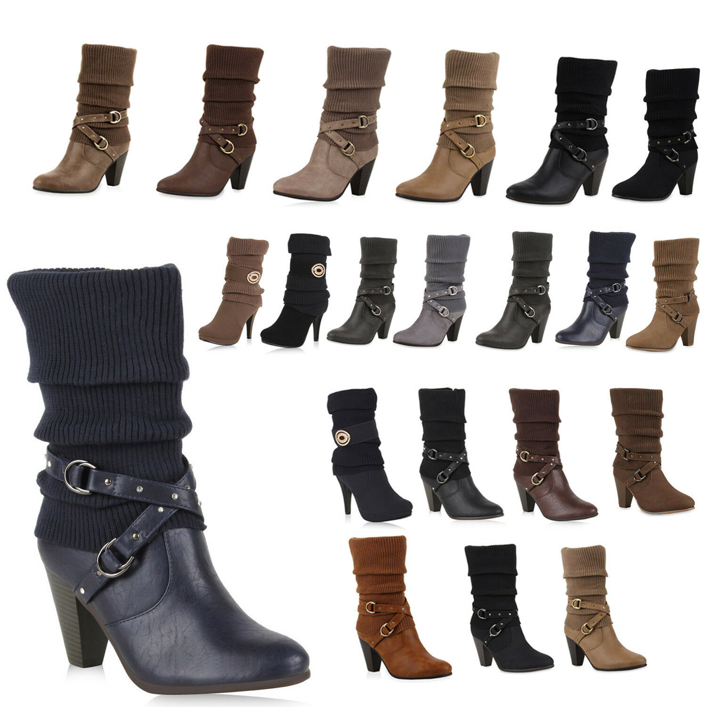 Damen Stiefel Strick Stiefeletten Schuhe 99650 Gr. 36-41