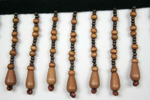 """Unotrim Beaded Fringe Trim 2-3/4"""" Wooden Tear Round Shape Beads with 3/8"""" Ribbon"""