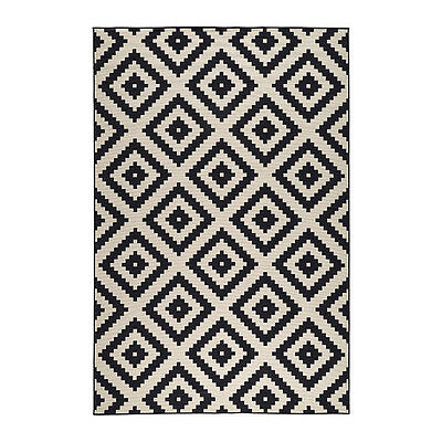 "Ikea Rug Low Pile Lappljung Ruta Black / White New 6'7"" x 9'10"" New"