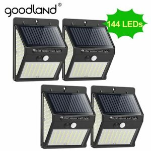 4 Lamparas 144 Led Luces Solares Exterior Para Patio Con Sensor De Movimiento Ebay