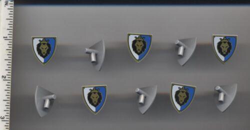 Shield Triangular with Black Gold Lion Head LEGO x 10 Light Bluish Gray Minifig