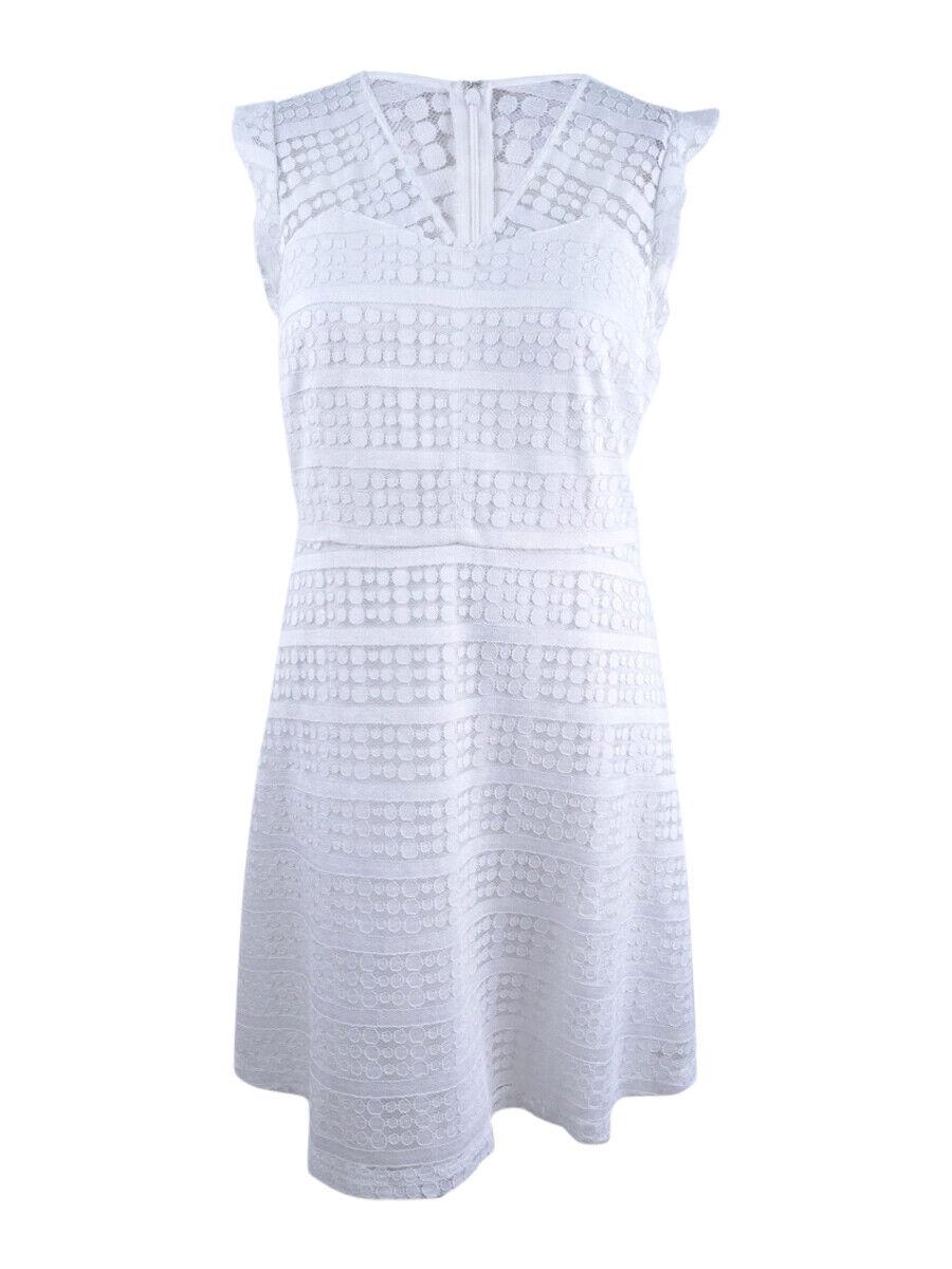 Nine West Woherren Cap-Sleeve Lace Fit & Flare Dress (18, Weiß)