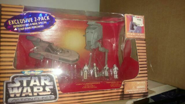 Lukes Landspeeder and Imperial AT-ST Galoob Micro Machines Star Wars Action Fleet