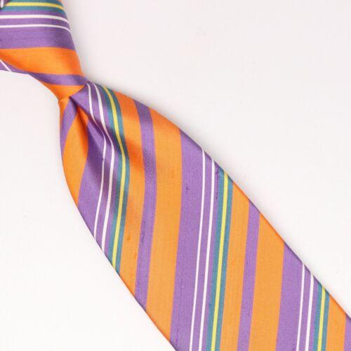 John G Hardy Herren Shantung Seidenkrawatte Orange Lila Grün Weiß Streifen Weben