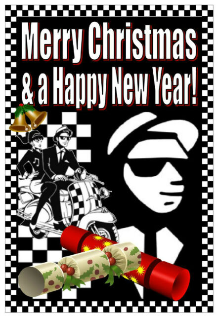 SKA / MODS - MERRY CHRISTMAS & NEW YEAR CARD - GLOSS FINISH - BRAND NEW