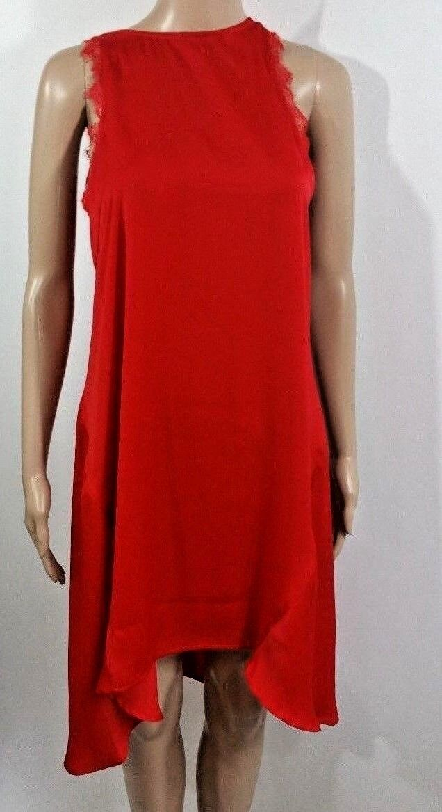 Women's JANE NORMAN Red Night Gown Low Hem Lace New Tags-Small Lingerie