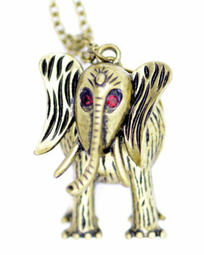Vintage style moveable joint bronze elephant necklace