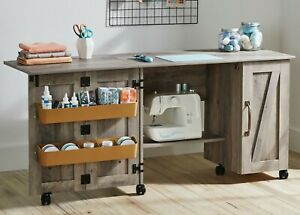 Wood Sewing Machine Cabinet Craft Table Organizer With Wheels Farmhouse Storage Ebay