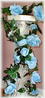 Light Blue Rose Garland Silk Wedding Flowers Arch Gazebo Reception Decoration
