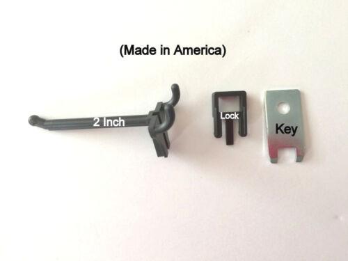500 PACK 2 Inch Locking Black Plastic Pegboard Peg Hooks 500 Locks, 20 Keys