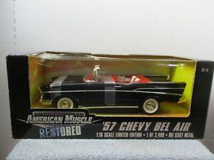 1/18 ERTL AMERICAN MUSCLE RESTORED BLACK '57 CHEVY BEL AIR CONVERTIBLE