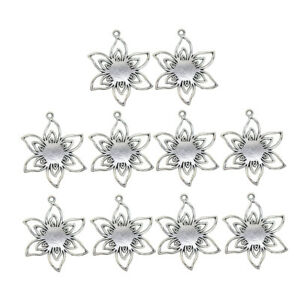 10pcs Flower Blank Photo Cameo Cabochon Settings Tray Base Pendants Jewelry