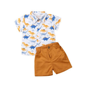 2pcs Toddler Kid Baby Boy Clothes Outfits Animal Printed Shirt Tops Shorts Pants