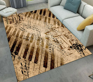 Vintage Piano Music Note Design Soft Floor Mat Area Rugs