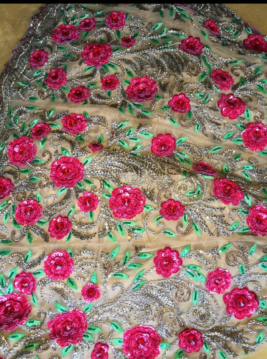 Gold And Red Rose Flowers Asian Dress Size 8