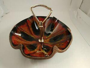 Sequoia-Tidbit-Candy-Nut-Dish-Handled-California-Pottery-610-USA-orange-black