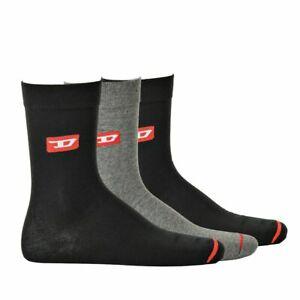 Diesel-Men-039-s-Socks-3er-Pack-Skm-Ray-Denim-Division-Stockings-Black-Grey