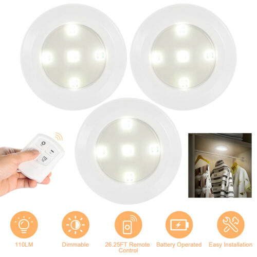 3 PACK Wireless Stick On Puck 5LED Tap Light Bright Remote Under Cabinet Closet