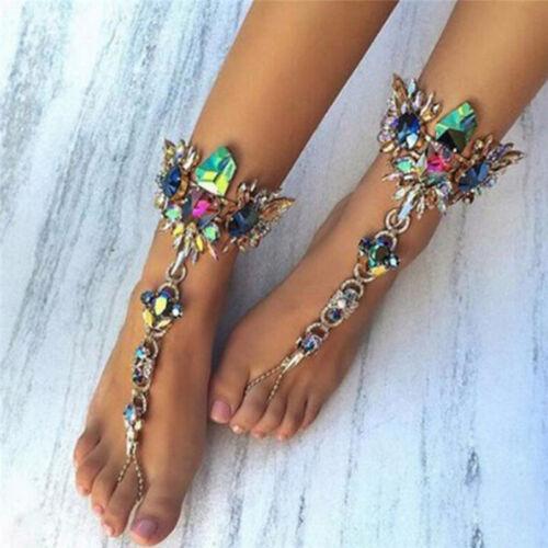New Crystal Anklets Chain Bracelet Women Barefoot Sandal Beach Foot Jewelry MW