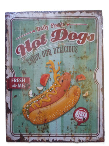 "Holzschild /""Hot Dogs/"" Imbiss Kiosk Fast Food Würstchen Ketchup Diner 40x30cm neu"