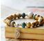 Ceramic-Bead-Silver-Leaf-Charm-Elastic-Bracelet thumbnail 2