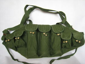 Military-Original-Vietnam-War-Chinese-Type-56-AK-Chest-Rig-Ammo-Pouch-CN004