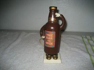 Vintage-1967-ceramic-nodder-bobblehead-beer-bottle-bar-is-open-Japan-rare