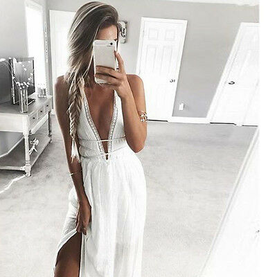 Summer Sexy Women Sleeveless Long Maxi Dress Evening Party Cocktail Club Beach