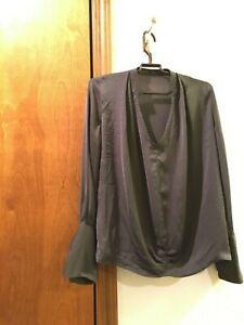 Zara-Basic-Gray-Women-Tunic-Top-Blouse-Size-XS-Pleat-Stylish