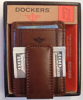 Dockers® Leather Magnetic Money Clip Card Case Front-Pocket Wallet Tan New-Box