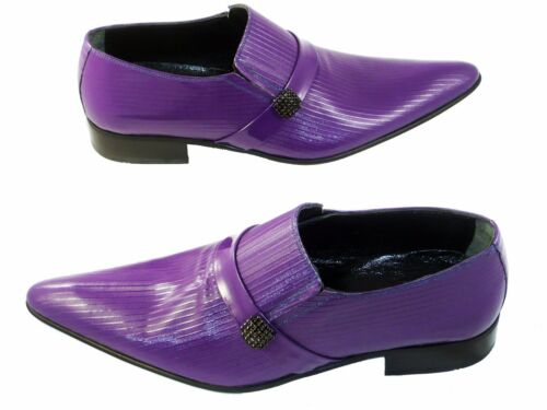 cuoio Purple Fancy in Purple Slipper Leather Suola Scarpe 43 Chelsy uomo da 1gqIzwz