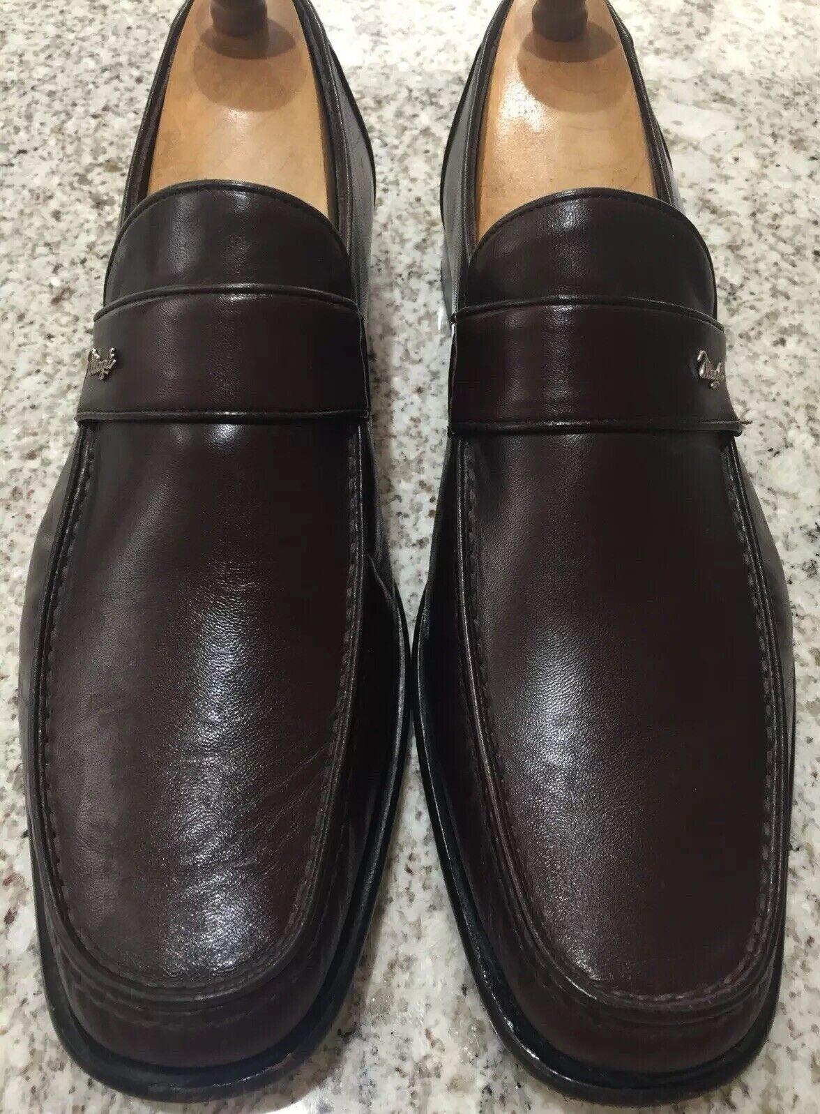 Bruno Magli Mens Brown Malazu Leather Loafers Sz 10.5 MINT