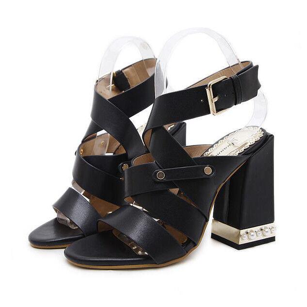 Sandali eleganti noir 11 cm tacco quadrato comodi  simil pelle eleganti 9869
