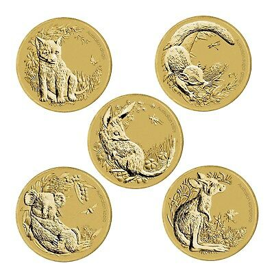 Australia 2011 Bush Babies Set of 5 $1 One Dollar UNC Coins All Carded