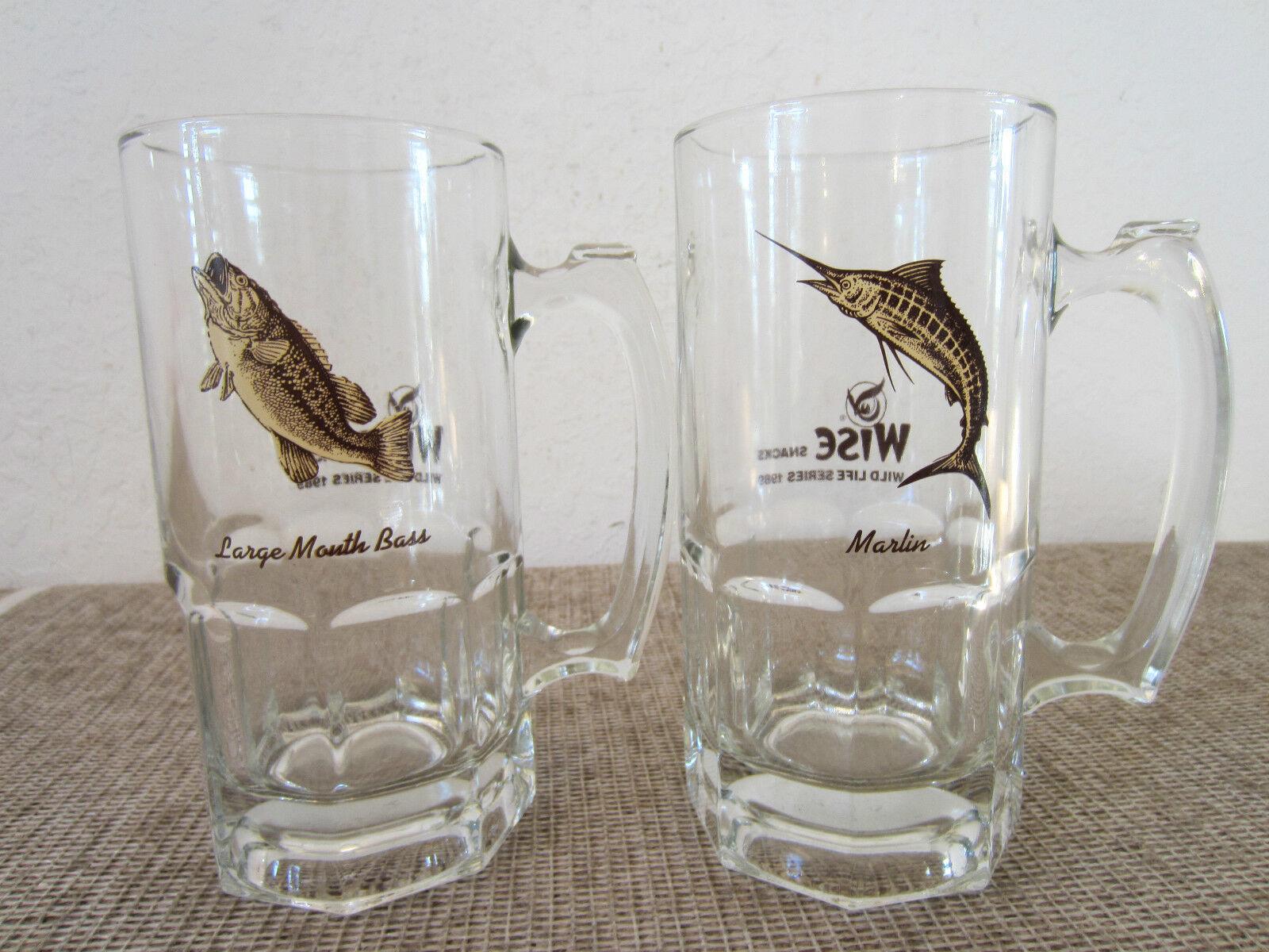 PR  OF LG SALTWATER FISHING MOTIF GLASS STEINS  beautiful