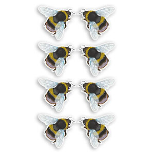 8 x 3cm Bumble Bee Vinyl Stickers - Insect Kids Science Nature Sticker #34609