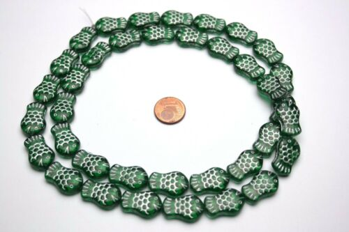 Strang 70 Cm Verte Séquoia poisson perles de verre 19 x 13 mm
