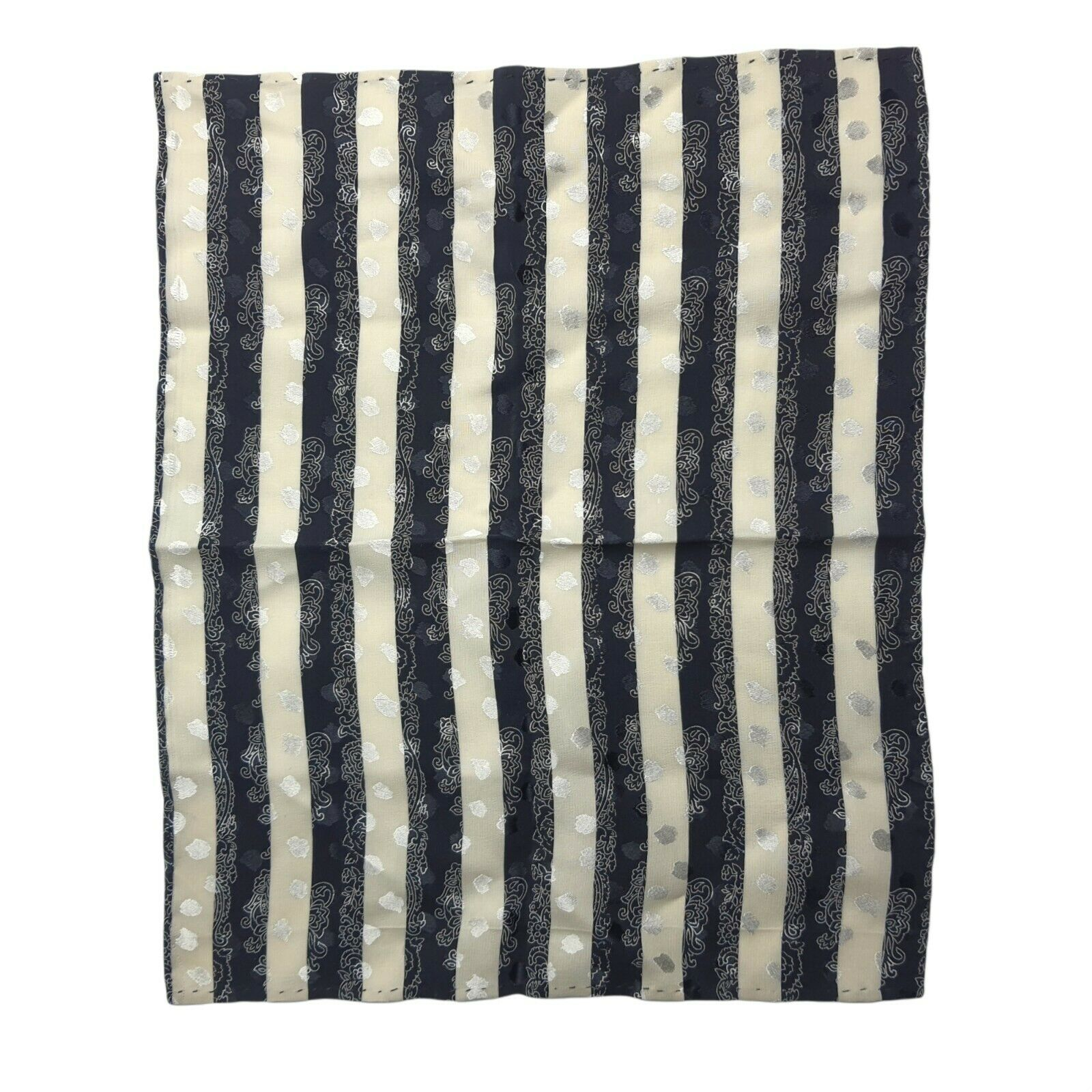 100% Silk Mens Pocket Square Hand Rolled It Black Blue Vintage 1