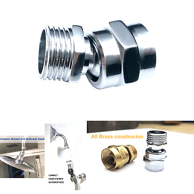 Shower head Swivel adapter,ball joint povit for overhead//handheld shower head,shower arm connection,polished Chrome