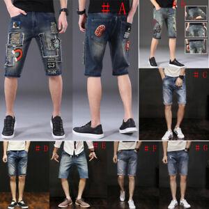 Men-Denim-shorts-short-Pant-Destroyed-Jeans-short-Jeans-Stretch-Pant-Frayed-Pant
